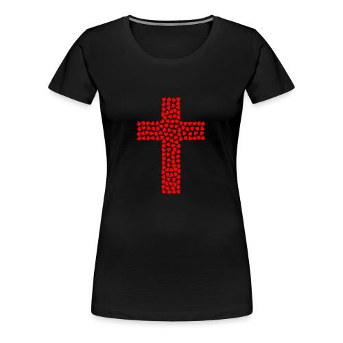 Jesus Love heart cross - Women's Premium T-Shirt