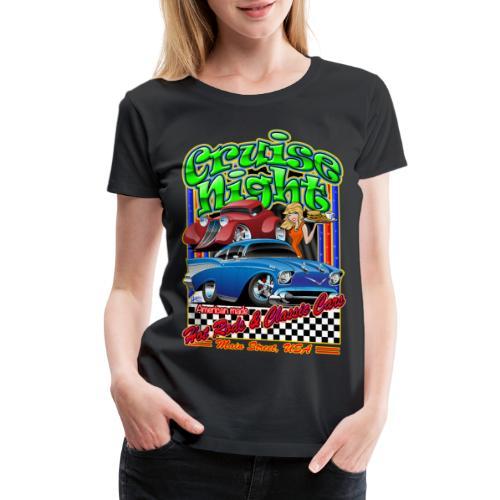 Cruise Night Hot Rods & Classic Cars Illustration - Women's Premium T-Shirt