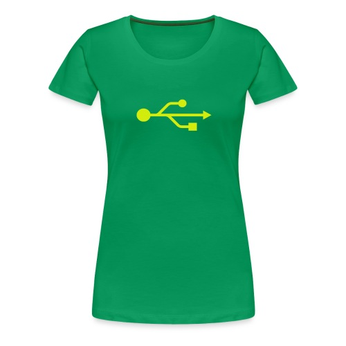 Yellow USB Logo Mid - Women's Premium T-Shirt