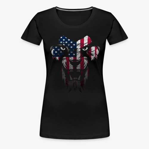 American Flag Lion Shirt - Women's Premium T-Shirt