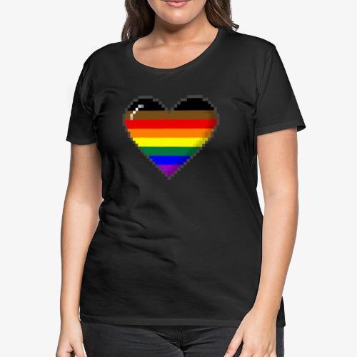 Philly LGBTQ Pride 8Bit Pixel Heart - Women's Premium T-Shirt