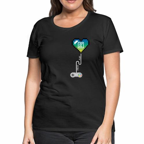 Supercombo Press Play Tshirt Green Heart - Women's Premium T-Shirt