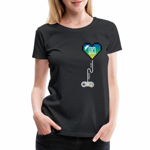 Supercombo Press Play Tshirt Green Heart - Women's Premium T-Shirt