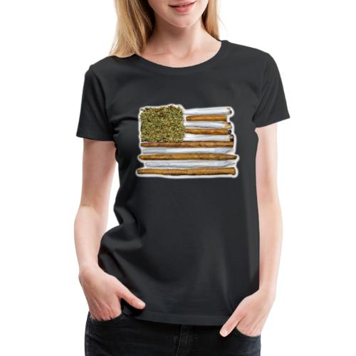American Flag With Joint - Women's Premium T-Shirt