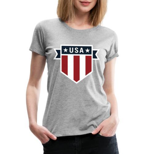 USA Pride Red White and Blue Patriotic Shield - Women's Premium T-Shirt