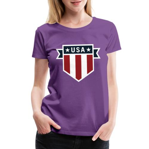 USA Pride Red White and Blue Patriotic Shield - Women's Premium T-Shirt