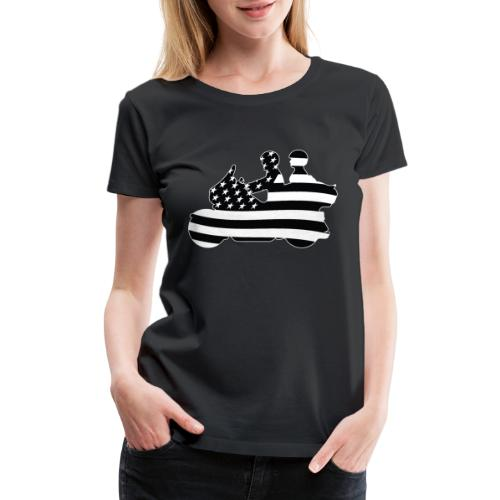 Patriotic American Flag Touring Motorcycle - Women's Premium T-Shirt