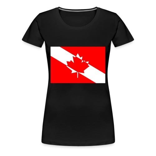 Canadian Diver Flag in Red & White - Women's Premium T-Shirt
