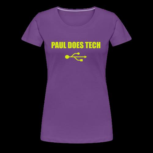Paul Does Tech Yellow Logo With USB (MERCH) - Women's Premium T-Shirt