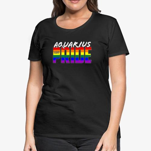 LGBT Aquarius Pride Flag Zodiac Sign - Women's Premium T-Shirt