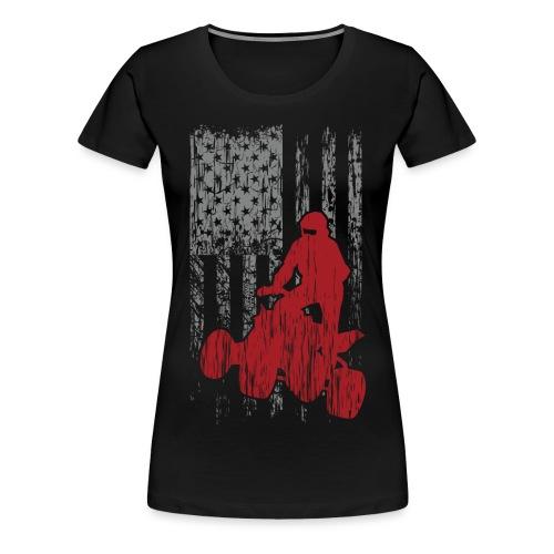 ATV Quad USA Flag Grunge - Women's Premium T-Shirt