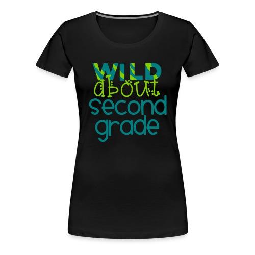 Wild About Second Grade Funky Teacher T-shirt - Women's Premium T-Shirt