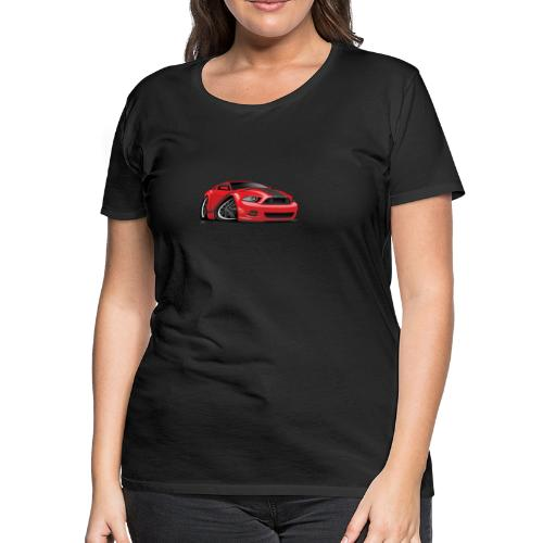American Muscle Car Cartoon Illustration - Women's Premium T-Shirt