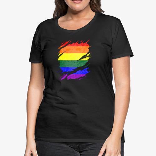 LGBTQ Pride Flag Ripped Reveal - Women's Premium T-Shirt