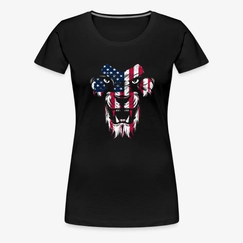 American Flag Lion - Women's Premium T-Shirt