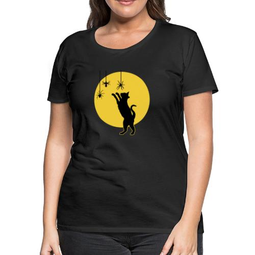 Full Moon with Black Cat and Spiders Halloween - Women's Premium T-Shirt