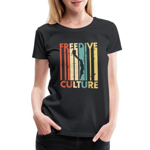 Freedive Culture Vintage Style Silhouette - Women's Premium T-Shirt