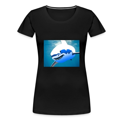 Super Lit Shark Drawing by Adam Tennant - Women's Premium T-Shirt
