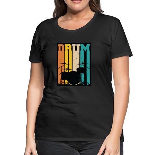 Retro Drum Set Silhouette Illustration - Women's Premium T-Shirt