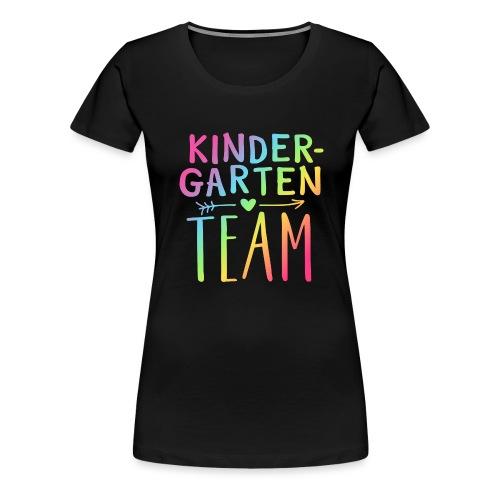 Kindergarten Team Neon Rainbow Teacher T-Shirts - Women's Premium T-Shirt
