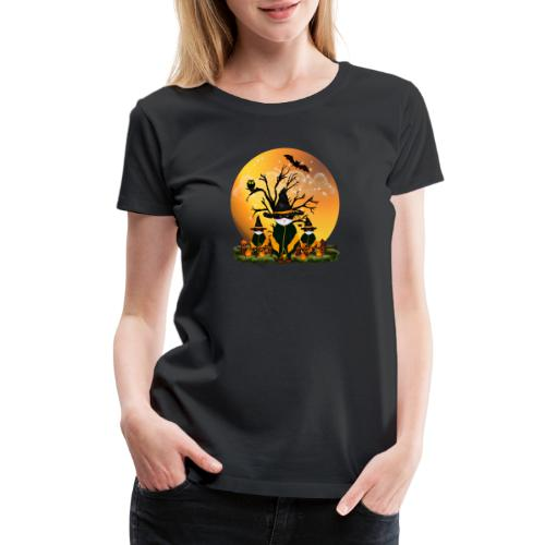 Happy Halloween with 3 masked cats - Women's Premium T-Shirt