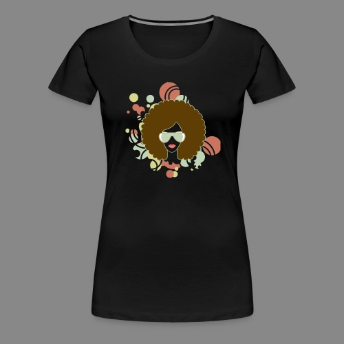 Brown Afro (Abstract) - Women's Premium T-Shirt