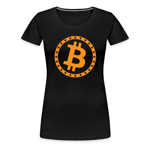 Bitcoin with star ring - Women's Premium T-Shirt
