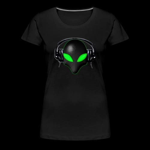 Alien Bug Face Green Eyes in DJ Headphones - Women's Premium T-Shirt
