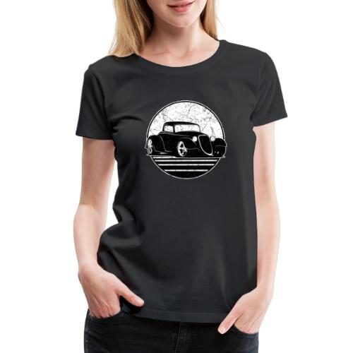 Retro Hot Rod Grungy Sunset Illustration - Women's Premium T-Shirt