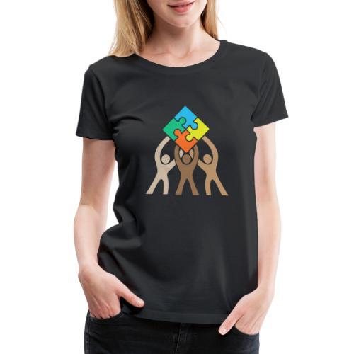 Teamwork and Unity Jigsaw Puzzle Logo - Women's Premium T-Shirt