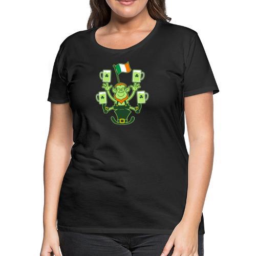 Leprechaun Juggling Beers and Irish Flag - Women's Premium T-Shirt