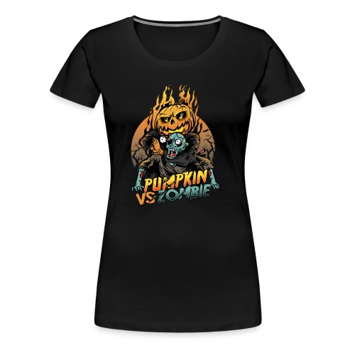 Pumpkin vs Zombie - Women's Premium T-Shirt