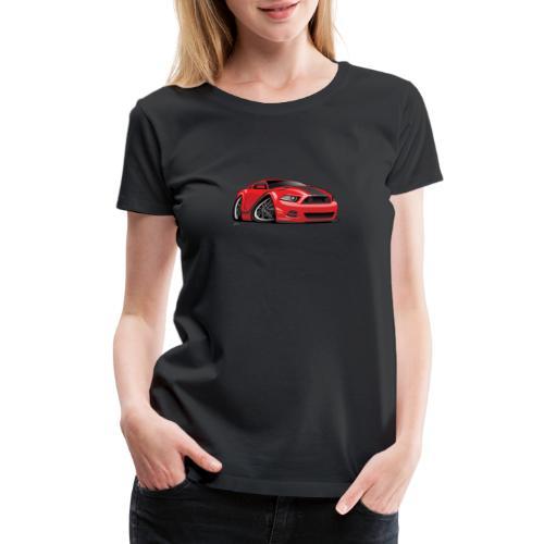 American Muscle Car Cartoon Illustration - Women's Premium T-Shirt