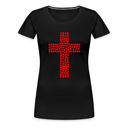 Jesus Love heart cross - Women's Premium T-Shirt