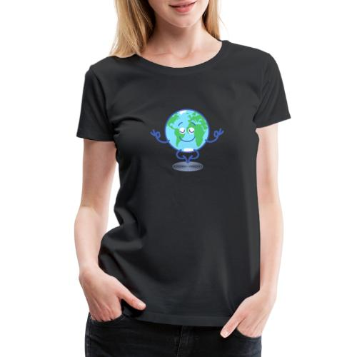 Planet Earth meditating and smiling - Women's Premium T-Shirt