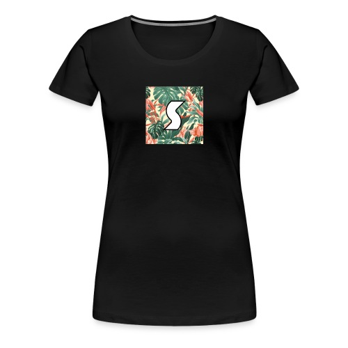 White Tropical Logo Design (Black) - Women's Premium T-Shirt
