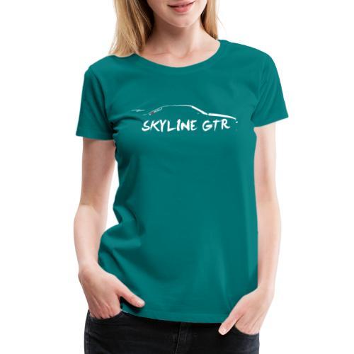 Silhouette Skyline with Logo white png - Women's Premium T-Shirt