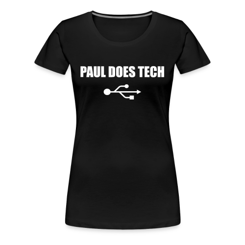 Paul Does Tech White Logo With USB - Women's Premium T-Shirt