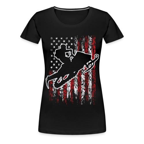 Snowmobiling USA Flag - Women's Premium T-Shirt