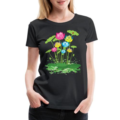 colorful waterlilies flowers - Women's Premium T-Shirt