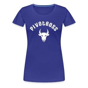 PivotBoss Curved Logo - White - Women's Premium T-Shirt