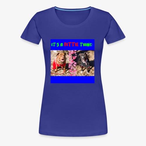 pittie thing flat blue - Women's Premium T-Shirt