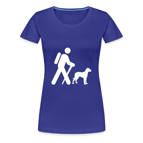Hiking Man & Dog - Women's Premium T-Shirt