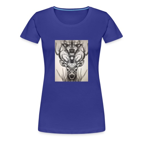 Black Ink Deer And Wolf Head - Women's Premium T-Shirt