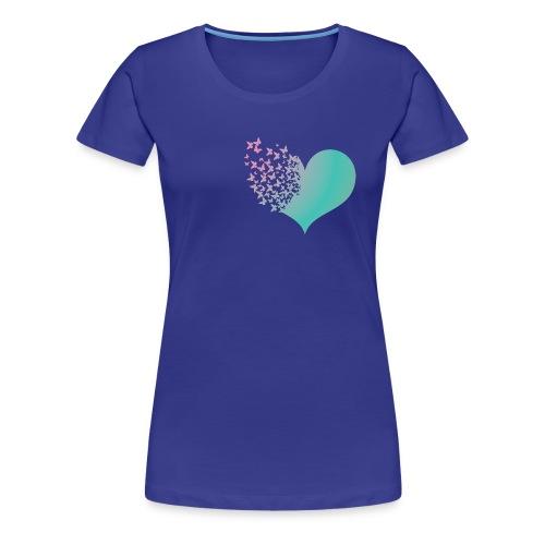 Heart butterflies green and pink - Women's Premium T-Shirt