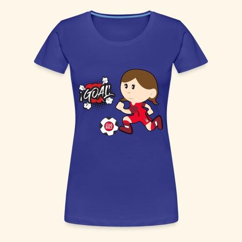 American Girl playing soccer/ scoring red uniform - Women's Premium T-Shirt