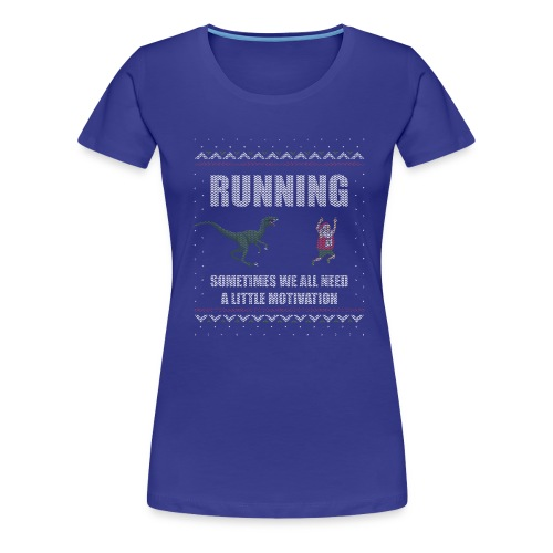 Ugly Christmas Sweater Running Dino and Santa - Women's Premium T-Shirt