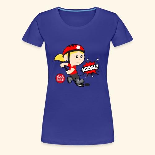 Canadian girl playing hockey scoring goal Kids - Women's Premium T-Shirt