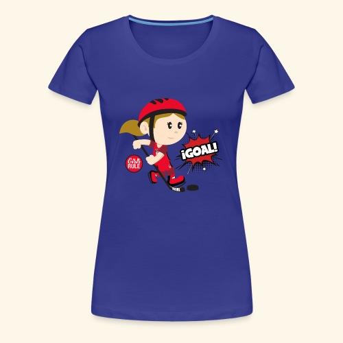American girl playing hockey scoring goal All red - Women's Premium T-Shirt