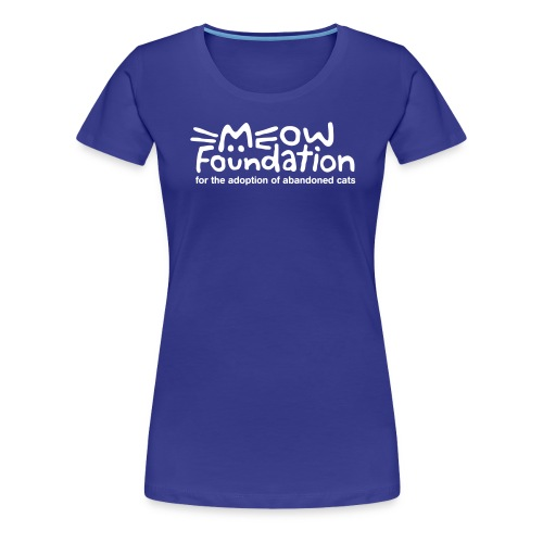 MEOW Foundation White Logo Tagline - Women's Premium T-Shirt